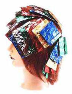 hair colour course - hair highlighting aluminium foil