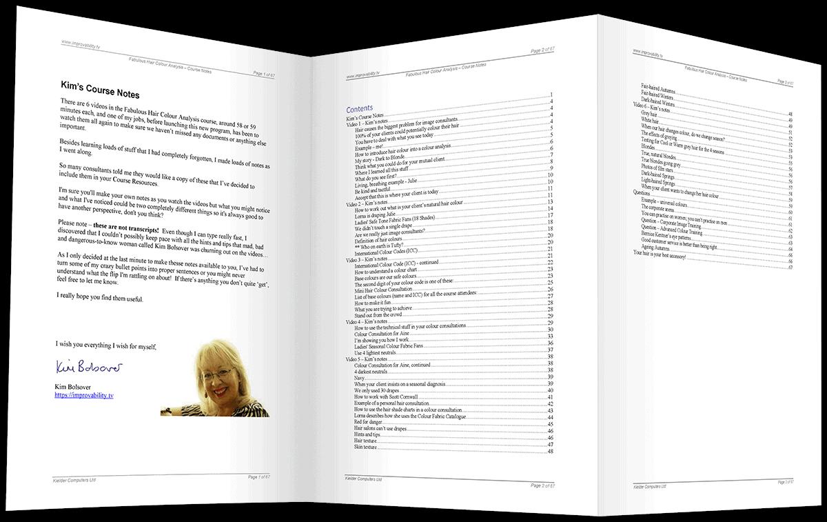 hair colour course notes index